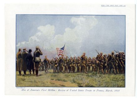 1918 WW1 Print UNITED STATES TROOPS Review France STARS AND STRIPES Color (209)